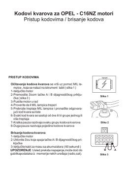 Kodovi kvarova za OPEL - C16NZ motori Pristup - Auto