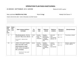 Operativni plan MUZIČKA KULTURA 2.razred