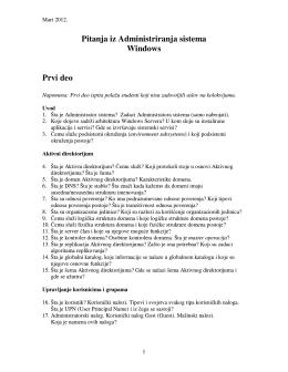 Pitanja iz Administriranja sistema Windows Prvi deo