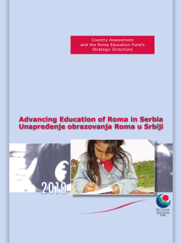 Advancing Education of Roma in Serbia Unapređenje obrazovanja