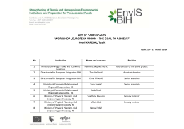 "LIST OF PARTICIPANTS WORKSHOP ""EUROPEAN UNION"