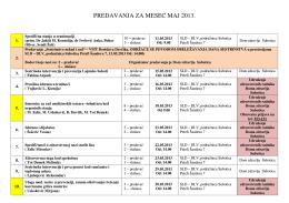 Termini predavanja za mesec Maj 2013. godine