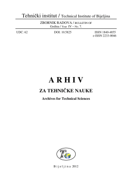 ARHIV ZA TEHNIČKE NAUKE Archives for Technical Sciences