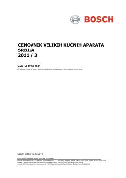 CENOVNIK VELIKIH KUĆNIH APARATA SRBIJA 2011 / 3