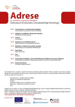 za posebno ugrozene izbeglice [Adressbuch für besonders