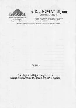 Godišnji i finansijski izveštaj za 2013. godinu