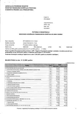 Potvrda o registraciji redovnog godišnjeg finansijskog izveštaja za