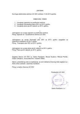 ZAPISNIK Sa druge elektronske sednice UO SSV održane 13.02