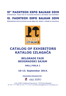 13th PACKTECH EXPO BALKAN 2014 CATALOG OF EXHIBITORS
