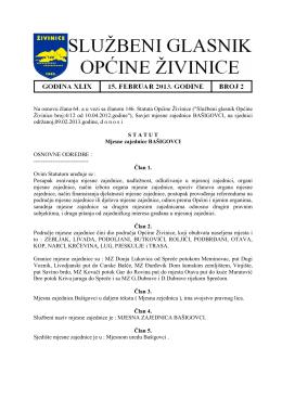 Službeni glasnik, broj 2/13 od 15.02.2013. godine