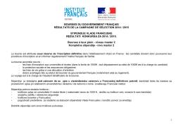 1 bourses du gouvernement français résultats de la campagne de