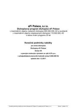 Konečné podmínky nabídky pro emisi Dluhopisů eFi Palace VII