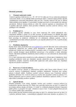 Obchodní podmínky 1. Účastníci smluvních vztahů - Gala