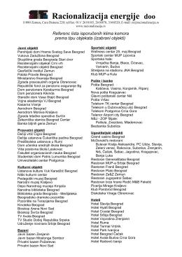 Referenc lista isporučenih klima komora