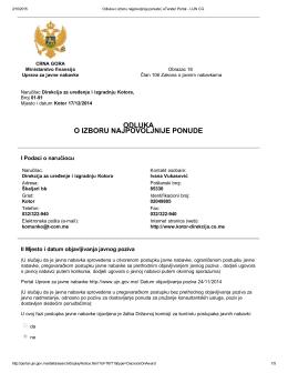 Odluka o izboru najpovoljnije ponude 55/14