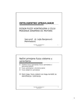 Dizajn fuzzy kontrolera - Vanr.prof.dr. Lejla Banjanović
