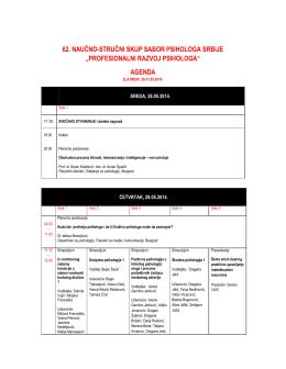 Program 62. Naučno-stručnog skupa psihologa Srbije