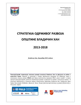 стратегија одрживог развоја општин ее владичин хан 2013‐2018
