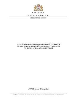 izvještaj o radu predsjednika opštine kotor za 2012. godinu sa