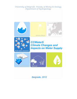 Climate Change and Impacts on Water Supply Klimatske promene i