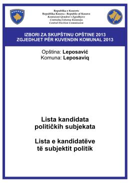 Lista kandidata političkih subjekata Lista e kandidatëve të subjektit
