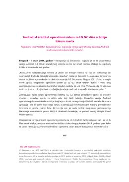 Android 4.4 KitKat operativni sistem za LG G2 stiže u Srbiju tokom