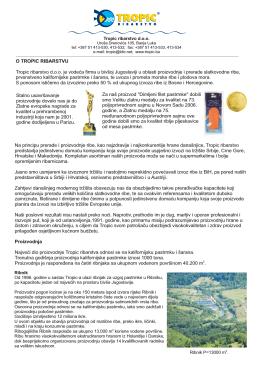 O TROPIC RIBARSTVU všoj Jugoslaviji u oblasti proizvodnje i