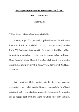 Projev prezidenta klubu na Valné hromadě I. ČLTK