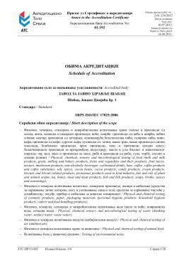 Obim akreditacije prema SRPS ISO 17025:2006