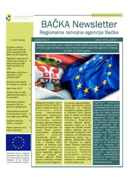 RDA Newsletter Regionalne razvojne agencije Bačke