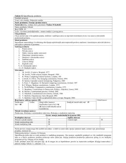 Tabela 5.2 Specifikacija predmeta Studijski program Vrsta i