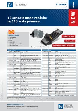 16 senzora mase vazduha za 113 vrsta primene
