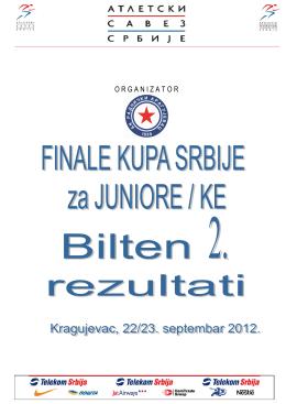 Резултати финала купа Србије за јуниоре, Крагујевац 2012.