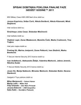 spisak dobitnika poklona finalne faze gedžet godine 2011