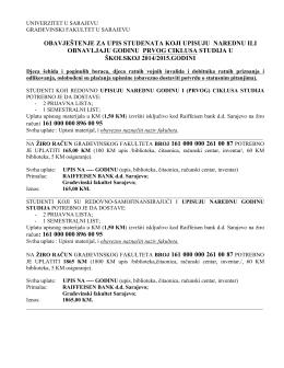 obavještenje za upis studenata koji upisuju narednu ili obnavljaju