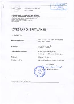 Atest za PPR cevi PN10, PN16, PN20 - IMS