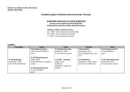 raspored nastave za letnji semestar