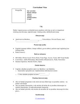 CV sablon - InfoStar.rs