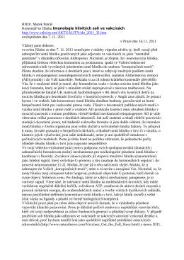 RNDr. Marek Petráš Komentář ke článku Imunologie hlinitých solí ve