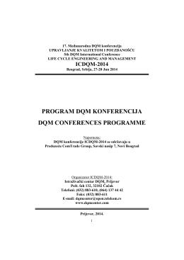 ICDQM-2014, PROGRAM DQM KONFERENCIJA
