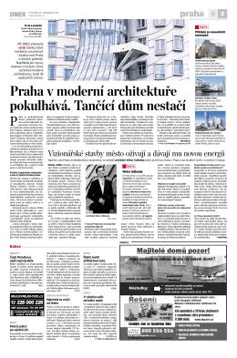 Praha v moderní architektuře pokulhává. Tančící
