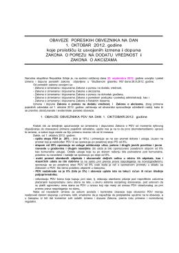 Novine za obveznike PDV-a od 01.10.2012