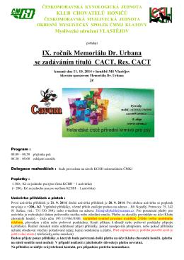 PROPOZICE K Memoriálu Dr. Urbana 11_10_2014