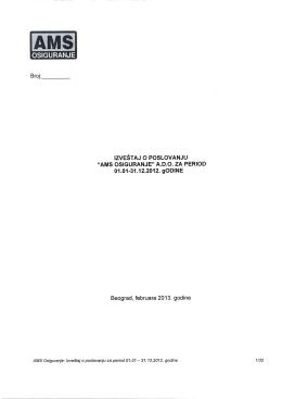 Izveštaj o poslovanju za 2012. godinu