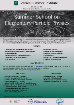 Summer School on Elementary Particle Physics