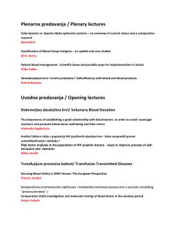 Plenarna predavanja / Plenary lectures Uvodna predavanja