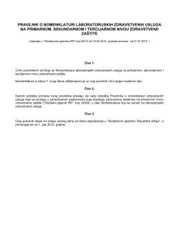 pravilnik o nomenklaturi laboratorijskih zdravstvenih usluga na
