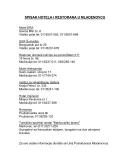 spisak hotela i restorana u mladenovcu
