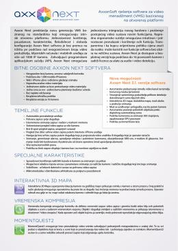 Bitne osoBine Axxon next softverA temeljne funkcije