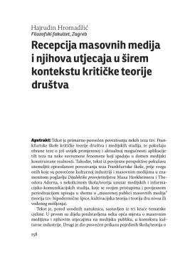 Recepcija masovnih medija i njihova utjecaja u širem kontekstu